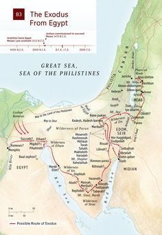 Study Bible: Map of Israel's exodus from Egypt. Timeline shows when the Mosaic Law covenant went into effect, when Moses commissioned Joshua to lead Israel. Israel History, Ancient History, Ancient Egypt, Art History, Egypt Map, Luxor Egypt, Pyramids Egypt, Bible Mapping, Bible Study Tools