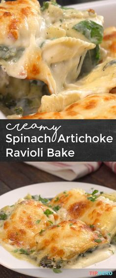 There really isn't anything we love more than the pairing of spinach, artichoke dip. But for this dish we've made it the main event along with layers of alfredo sauce and ravioli! Click for the recipe and video and try out this Creamy Spinach Artichoke Ravioli Bake!   #familydinner #dinnertime #yum