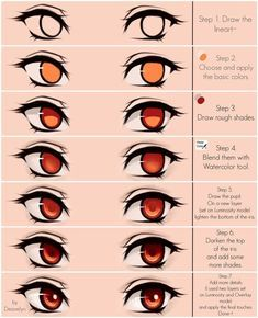 Eyes coloring tutorial by MaruvieYou can find Cartoon girls and more on our website.Eyes coloring tutorial by Maruvie Eye Drawing Tutorials, Digital Painting Tutorials, Digital Art Tutorial, Art Tutorials, Digital Paintings, Eye Tutorial, Photoshop Tutorial, Photoshop Actions, Manga Tutorial