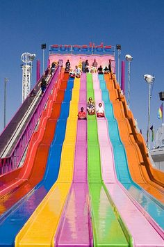 summer fun: big water slide in rainbow colors Rainbow Aesthetic, Summer Aesthetic, Photo Wall Collage, Picture Wall, Summer Vibes, Summer Fun, Pink Summer, Summer Bucket, Summer Nails