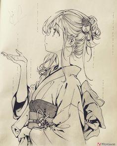 Uraraka in yukata Anime Drawings Sketches, Anime Sketch, Manga Drawing, Manga Art, Cute Drawings, Manga Anime, Anime Chibi, Kawaii Anime, Arte Sketchbook