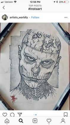 55 Ideas Drawing Pencil Skull Skeletons For 2019 Tattoo Sketches, Drawing Sketches, Tattoo Drawings, Art Tattoos, Dark Drawings, Cool Drawings, Pencil Drawings, Surreal Tattoo, Tattoo Zeichnungen
