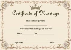 Wedding Certificate, Marriage Certificate, Certificates Online, Certificate Templates, Marriage Relationship, Marriage Proposals, Just Married Banner, Describing Words, Ways To Propose