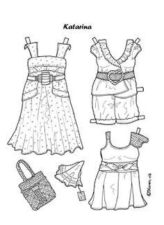 Karen`s Paper Dolls: Katarina 1-4 Paper Doll to Colour. Katarina 1-4…