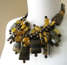 Tiger Iron and Czech Glass Necklace by NatashaNicholson on Etsy, $1100.00