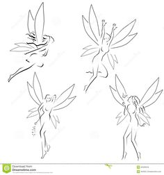 Illustration about Four abstract fairies illustration. Illustration of flying, outline, female - 20435016 tattoo Abstract fairies stock vector. Fairy Wings Drawing, Fly Drawing, Fairy Drawings, Small Fairy Tattoos, Fairy Wing Tattoos, Small Tattoos, Dainty Tattoos, Mini Tattoos, Cute Tattoos