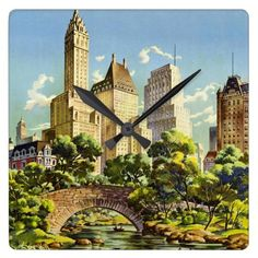 New York City Central Park Vintage Poster Square Wall Clock - classic gifts gift ideas diy custom unique
