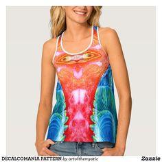 DECALCOMANIA PATTERN TANK TOP Free Add, Racerback Tank Top, My Design, Tie Dye, Dressing, Fancy, Tank Tops, My Style, Shirts