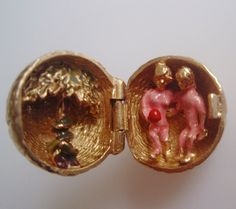 Large 9ct Gold Apple Charm Opens to Adam and by TrueVintageCharms