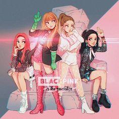 obsessed with black pink 💖💖🖤🖤 - Blackpink Cartoon Meme, Cartoon Art, Kpop Drawings, Cute Drawings, Chibi, Black Pink Kpop, Black Girls, Itslopez, Dog Tumblr