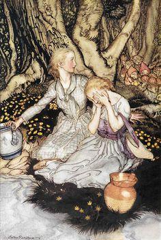 """'Look, Lizzie, look, Lizzie,/Down the glen tramp little man'. """"Goblin Market"""" illustrated by Arthur Rackham (1933)"""