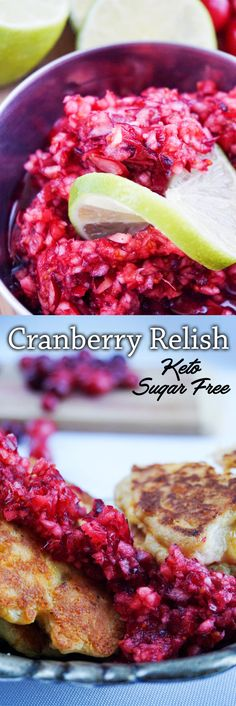 Fresh Cranberry Relish perfect as a side for your low carb holiday get togethers!