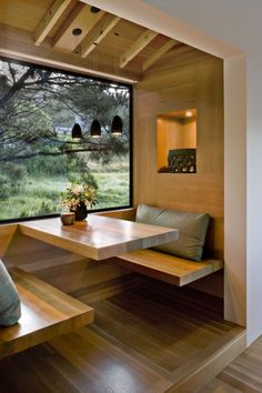 Floating benches are a great look for this dining booth, or gain storage by closing in the base and adding a drawer on the end...