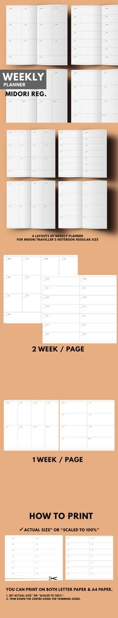 Weekly Planner 4 Layouts ▹ for Midori Traveller's notebook Regular size  Printable   Weekly Planner in 4 layouts minimal style. You can choose one of 4 layout which match with your lifestyle or mix it together, It's up to you! There're 2 categories of these layouts ▹ 1 WEEK / PAGES ▹ 2 WEEK / PAGES