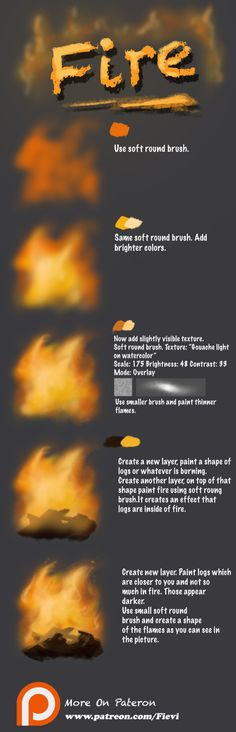 Fire tutorial by Fievy on DeviantArt Painting Tutorial, Digital Art Tutorial, Art Painting, Digital Drawing, Art Drawings, Drawings, Digital Painting Tutorials, Art, Digital Painting