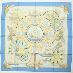 AT AUTHENTIC HERMES CARRE 90 SILK SCARF LAIR MARIN BLUE YELLOW USED #HERMES