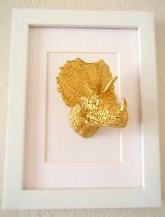 Dinosaur artwork/ gold dinosaurs/ 5x7/ mixed media/ office space art/ plastic taxidermy/