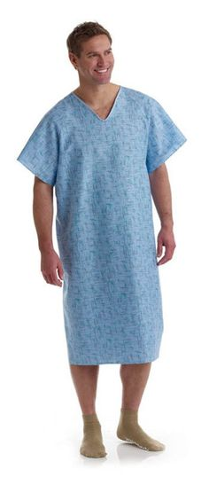 Blue Cascade Print Deluxe Cut Medical  Gowns - BH Medwear - 1