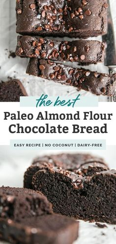 This paleo chocolate bread is seriously THE BEST Made with simple ingredients like almond flour cocoa powder sweetened with a touch of maple syrup and dairy free chocolat. Almond Flour Bread, Baking With Almond Flour, Almond Flour Recipes, Almond Meal, Coconut Flour, Dairy Free Chocolate Chips, Paleo Chocolate, Mini Chocolate Chips, Chocolate Recipes