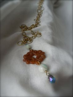 Carnelian Filigree/ Faceted Amazonite Long by StellaMargaritis, $45.00 Brass Necklace, Carnelian, Filigree, My Etsy Shop, Jewelry Making, Bohemian, Canada, Brooch, Trending Outfits