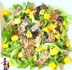 Caribbean Jerk Chicken Mango salad Recipe #summersalad #jerkchicken #salad