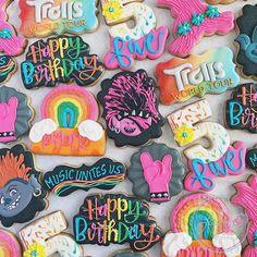 Third Birthday Girl, Rockstar Birthday, Leo Birthday, Trolls Birthday Party, Troll Party, 4th Birthday Parties, Minnie Mouse Birthday Theme, Rock Star Party, Birthday Cookies
