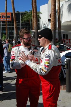 Rutledge Wood and Adam Carolla breaking down race strategy at the 2012 Toyota Pro/Celebrity Race in Long Beach. #TPCR