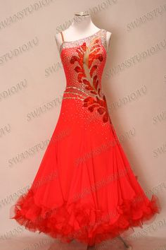 New Fluo Red Chrisanne Georgette Ballroom Dance Competition Dress Size s US 6 | eBay