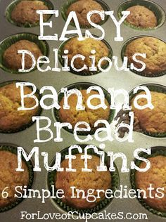 Kids loved these Easy Banana Bread Muffins. I always have a couple of bananas just waiting to be made into banana bread. Banana Bread Muffins, Easy Banana Bread, Mini Muffins, Delicious Desserts, Dessert Recipes, Yummy Food, Banana Madura, Bolo Cake, Banana Recipes