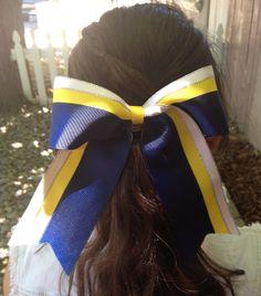 Navy Blue, Yellow, White cheer bow 6x7  Vikings