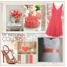 My Wedding Colors, created by abenihill on Polyvore- I created this wedding color palette for a non-traditional color combination. Light brown/tan, greys, and a sprinkle of fun, enticing coral, and some aqua for the boys :)