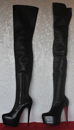 CHRISTIAN LOUBOUTIN Monicarina Leather Platform Thigh High Daf Boots 160  Heel 37  dd6c2fdc78c8