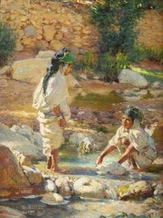 Algérie - Peintre Français, Alphonse Étienne Dinet (1861-1929), huile sur toile 1888,Intitulée: Deux Jeunes filles au Oued de Bou Saad