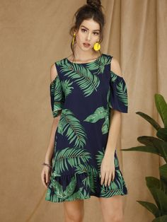 To find out about the Tropical Cold-shoulder Ruffle Hem Dress at SHEIN, part of our latest Dresses ready to shop online today! Halloween Outfits For Women, Woman Outfits, Dress Outfits, Short Frocks, Tropical Dress, Short Dresses, Summer Dresses, Straight Dress, Latest Dress