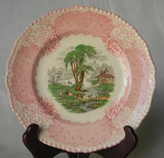 Rare Vintage English Polychrome Pink / Red Transferware plate - Royal Doulton The Chatham @ www.EnglishTransferware.Etsy.com 49.99