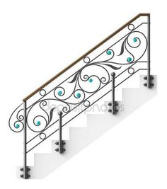 Wrought iron stairs railing by Egorovajulia, via Dreamstime. Wrought iron stairs railing by Egorov Iron Handrails, Wrought Iron Stair Railing, Wrought Iron Decor, Metal Stairs, Staircase Railings, Wrought Iron Gates, Staircase Design, Balustrade Inox, Balustrade Balcon