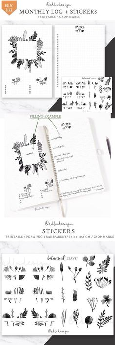 Botanical Monthly Log Printable / Bullet Journal Insert / Goals & Task List / Watercolors Layout / Monthly Spread / Leaves StickersAdd this botanical Monthly Layout Printable in your bullet journal. This minimal spread contains goals, tasks lists, and log