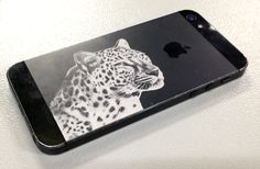 """We used our Speedy 100 flexx laser machine to create the ultimate customized phone!  Click """"View"""" to see how we did it. #Laser #LaserEngraving #Engrave #iPhone #PhoneCover #Leopard #Design #BlackandWhite"""