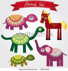 illustration of cute animal set horse, elephant, turtle, dinosaur by EkaterinaP, via Shutterstock