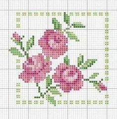 roses in square cross stitch chart Mini Cross Stitch, Cross Stitch Borders, Cross Stitch Flowers, Cross Stitch Designs, Cross Stitching, Cross Stitch Embroidery, Embroidery Patterns, Cross Stitch Patterns, Needlework