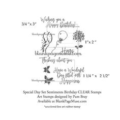 Pam Bray Designs: A Girl with Flair: Special Day Sentiment and Flower Clear Stamp Sets ...
