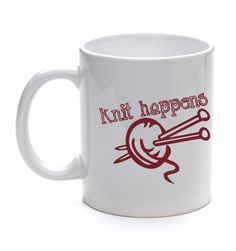 Knit Happens Coffee Mug Funny Knitters Gift Quote with Ball of Yarn and Needles. $10.50, via Etsy.