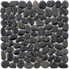 black river rock floor for bathroom... sounds delightful.