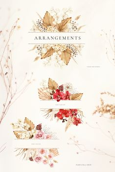 New autumn collection of watercolor illustrations that consist of many floral elements. Bright red orchid, blush roses, pampas and dried palm as well as other dried plants will add autumn mood to your design.#invitations #elegantwedding #modernwedding #beachwedding #bohowedding #floralwedding #vintagewedding #fallflowers #fallwedding Graphic Design Templates, Graphic Design Trends, Graphic Design Layouts, Graphic Design Projects, Graphic Design Inspiration, Blog Design, Floral Illustrations, Graphic Design Illustration, Watercolor Illustration