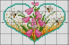 Foxglove heart card cross stitch chart
