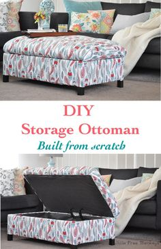 This is to make your own DIY upholstered storage ottoman - it is super easy! This tutorial covers everything - building the frame and upholstery- But also use for reupholster idea for Living Room Ottoman Furniture Projects, Furniture Plans, Furniture Making, Furniture Makeover, Home Projects, Diy Furniture, Diy Storage Ottoman, Diy Ottoman, Upholstered Ottoman