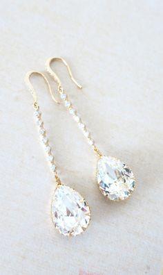 Champagne Gold Wedding Earrings Bridesmaid Earrings Bridal Jewelry Wedding Clear Swarovski Crystal Tear Drops with Cubic Zirconia, by GlitzAndLove, www.glitzandlove.com