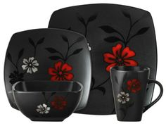 New Unique 16pc Black Dishes White Red Floral Asian Dinnerware Set Plates | eBay
