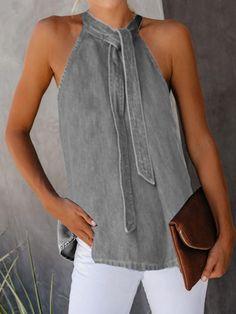 Casual Lace-Up Denim Vest Shirt - Kleidung Ideen 2020 Denim Fashion, Fashion Outfits, Denim Outfits, Fashion Clothes, Denim T Shirt, Shirt Vest, Denim Vests, Denim Bag, Loose Tank Tops