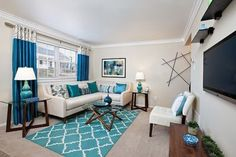 Blue Living Room Decor - What color rug should I get with a blue couch? Blue Living Room Decor - What color curtains blue couch? One Bedroom Apartment, Apartment Interior, Apartment Design, Apartment Ideas, Apartment Living, Decorate Apartment, Colorful Apartment, Apartment Kitchen, Rental House Decorating